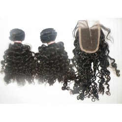 3pcs Brazilian curl weave x 2 + Top Closurex 1