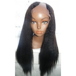 U Part Glueless lace front wig Brazilian Hair Italian Yaki 18inch Left Part