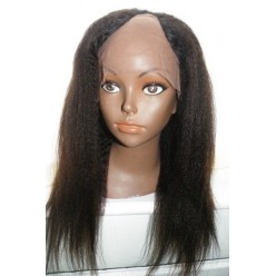 U Part Glueless lace front wig Indian Hair Italian Yaki 16inch Middle Part