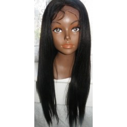 No Glue Full Lace Wig  20inch 1b Yaki Straight