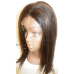 Lace Front Wig Yaki Straight Indian Remy hair 12inch 1b/30