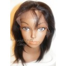 Lace Front Wig Yaki Straight Indian Remy hair 8inch 1