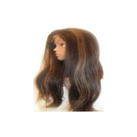 Full lace wig indian remy light yaki Straight  18inches 1B/27