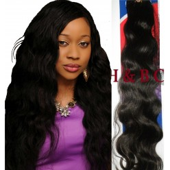 Malaysian Virgin hair 18inch natural BodyWavy 1B