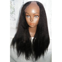 U Part Glueless lace front wig Indian Hair Italian Yaki 18inch Middle Part