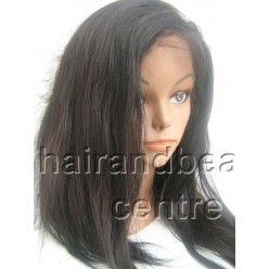 Full Lace Wig Indian Remy Coarse Yaki Straight 16 natural color1b