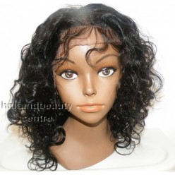 Lace Front Wig 10inch Curl Indian remy hair 1b