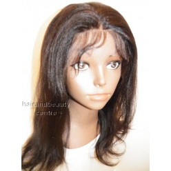 Lace Front Wig Yaki Straight Indian Remy hair 12inch 1b