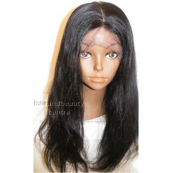 100% peruvian hair full lace wig silky straight 18inches natural black color