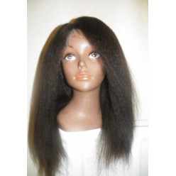 Human Hair Italian Yaki Kinky Straight Lace Wig 16inch colour 1b