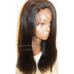 Lace Front Wig Yaki Straight Indian Remy hair 16inch 1b