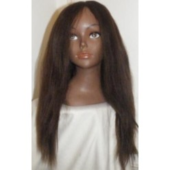 Thin Skin Yaki Straight Lace wig in colour 4 and 27 highlights